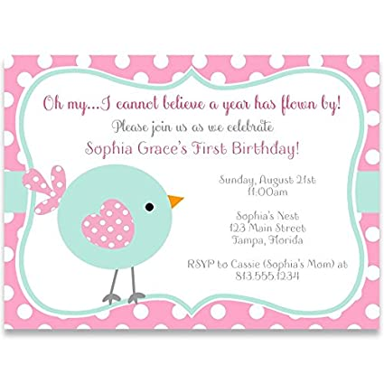 Amazon Com First Birthday Party Invitations Flown By Little Bird