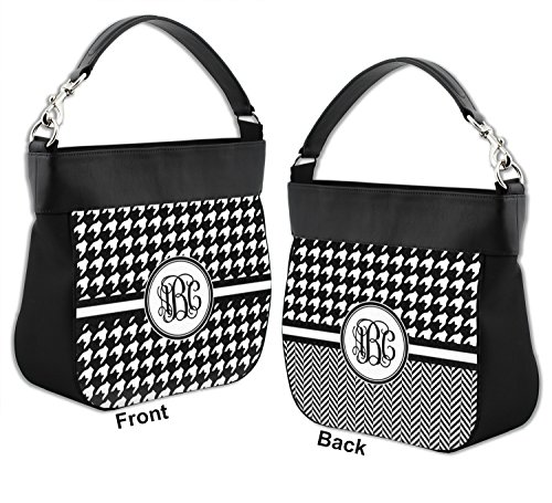 Leather amp; Front Houndstooth Purse Back Trim Hobo Personalized w Genuine wpHSq1Uf