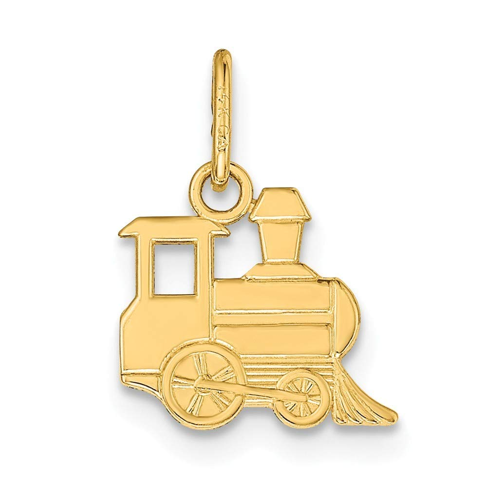 14K Yellow Gold Polished Small Toy Train Pendant from Roy Rose Jewelry