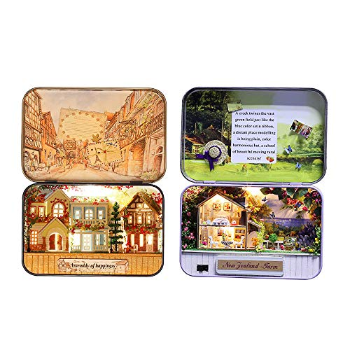 ZUINIUBI Miniature Dollhouse Box Theatre Kit DIY 3D Doll House with Furniture,1:24 Box Theater Boxes Gifts for Kids Adults New Zealand Ranch & Dreaming Town