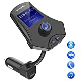 Stoon Bluetooth FM Transmitter, [3 USB Charger Ports] Car Music Adapter Wireless Radio Transmitter with 1.44in LCD Screen & Flexible Hose for Hands Free Call, AUX Input TF Card Slot U Disk Port