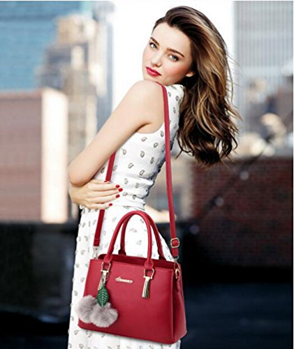 Bags Travel Red Handbag Shoulder Tote Bags PU Handbags Tote YAANCUN Wine For Crossbody Leather Women 8Cxqc0S6
