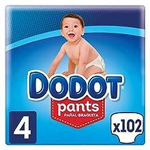 Dodot Pants Pañal-Braguita Talla 4, 102 Pañales, Fácil De Cambiar Con Canales De Aire, 9-15 kg
