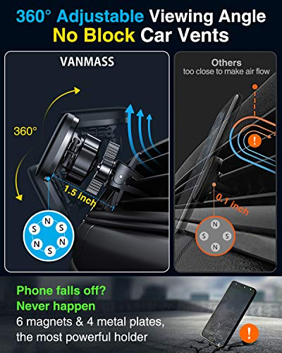 VANMASS Magnetic Phone Car Mount [2020 Upgraded] 2 Pack Car Phone Holder Strong Magnet Dashboard Car Phone Mount for iPhone 11 Pro Max/ 11 Pro/XS, Samsung, All Phone Models