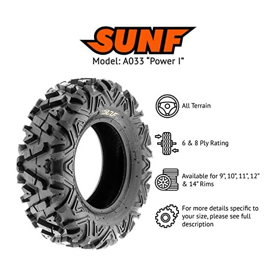 SunF Power.I ATV/UTV all-terrain Tires 24×8-12 Front & 24×11-10 Rear, Set of 4 A033, 6-PR, Tubeless