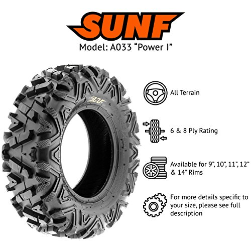 SunF Power.I 25 inch ATV UTV all-terrain Tires 25x8-12 & 25x11-12, 6 PR Front & Rear Set of 4 A033, Tubeless by SUNF (Image #2)