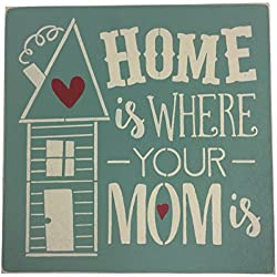 "Sara's Signs Handpainted 12""x12"" Wood Sign ""Home is where MOM is"""