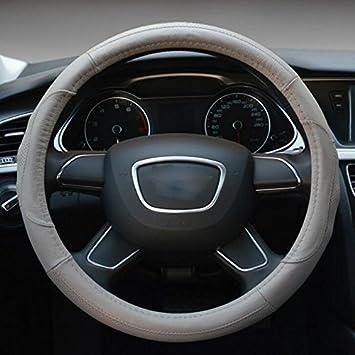 Hivel Antiscivolo Coprivolante Auto in Vera Pelle Universale Traspirante Veicolo Copri Volante Genuine Leather Car Steering Wheel Cover 38cm - Grigio CAR-WHEEL22-GRAY