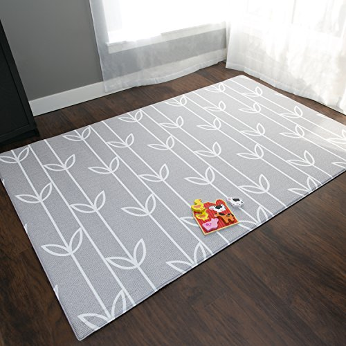 Baby Care Play Mat - Haute Collection (Large, Sea Petals - Grey) - Play Mat  for Infants - Non-Toxic Baby Rug - Cushioned Baby Mat Waterproof Playmat -