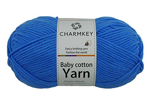 Charmkey Baby Cotton Yarn Simply Soft Boutique 4 Ply Medium Acrylic Blended Worsted Dungarees Knitting Yarn for Spring Summer Wear, 1 Skein, 3.53 Ounce (Azure blue) 2 Ply Gold Yarn