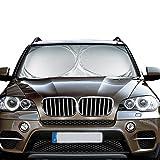 #1: Windshield Sun Shade ELUTO Car Sun Shade Excellent UV Reflector Keeps Vehicle Cooler Folding Silvering Sun Visor Heat and Sun Reflector Medium 59'' x 28'' (150 x 70cm)