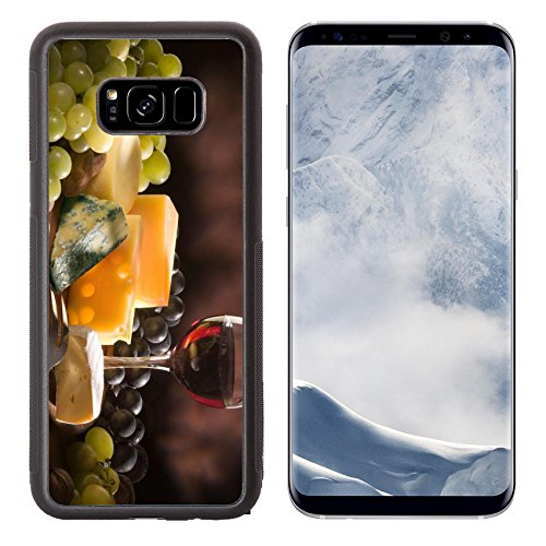 Liili Premium Samsung Galaxy S8 Plus Aluminum Backplate Bumper Snap Case IMAGE ID: 5817463 Glass of red wine with various types of cheese and garnishes
