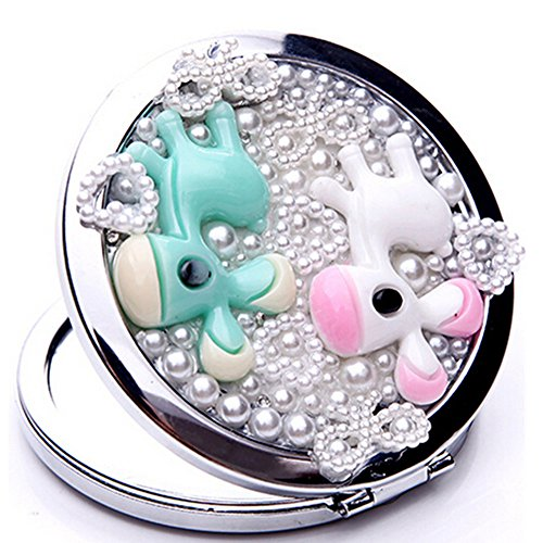 EVTECH(TM) 3D Bling Crystal Rhinestones Pearls and Flowers Stainless Travel Compact Pocket Crystal Folding Foldable Makeup Mirror(100% handmade)-Lovely Horse