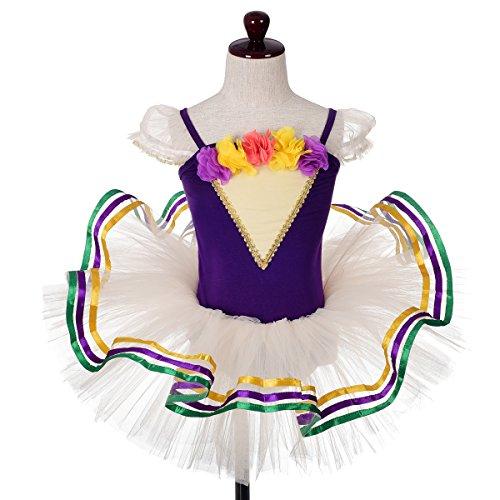 Dressy Daisy Girls' Rosettes Ribbon Trimmed Ballet Tutu Dance Costume Pageant Fancy Dress Size 7-8 Ivory with (Daisy Ballet Tutu)