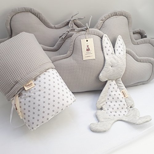 5 Piece Bedding Set - 3 clouds pillows bumper + blanket + baby lovey for Baby Crib, baby cot, baby bed- grey by Pockets Baby & kids