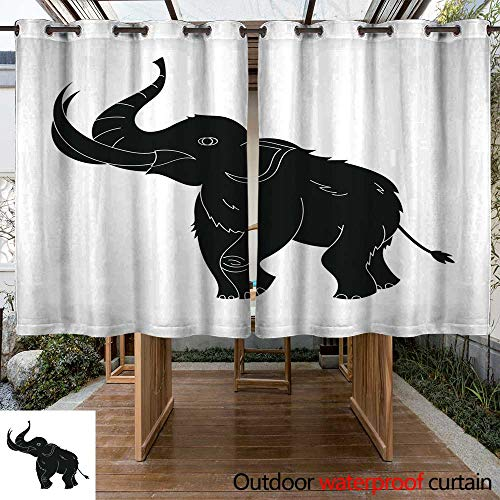 (RenteriaDecor Outdoor Balcony Privacy Curtain Woolly Mammoth icon in Black Style Isolated on White Background W84 x L72)