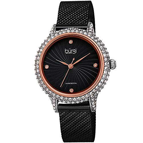 (Burgi Swarovski BUR250 Women's Swarovski Crystal Studded Case Watch with 4 Diamond Markers On A Mesh Band (Rose Gold on Black Dial))