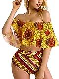 Women Swimsuit Two Pieces Printed Ruffled Falbala High Waist Off Shoulder Bodycon Bikini Set Flounce Swimsuits Bathing Suits L