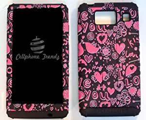Cellphone Trendz (TM) Hybrid 2 in 1 Case Hard Cover Faceplate Skin Black Silicone and Pink Black Hearts Snap Protector for Motorola Droid Razr Maxx HD XT926M by Verizon (Not for Droid Razr Maxx) + Free Wristband Accessory - Cellphone Trendz (TM)