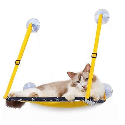 DJLOOKK Ventana montada Hamaca para Gato Potente Ventosa Gato Hamaca Cristal Ventana Gato Cama Malla Transpirable