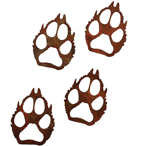 7055 Inc Rustic Elements Wolf Paw Prints (set of 4) Metal Wall Art, Natural Rust Patina (Wild Animal Paw Prints)