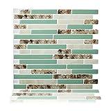 "Cocotik Peel-N-Stick Kitchen Backsplash Wall Tile Vinyl Wall Sticker, 10.5"" x 10"", Pack of 10"