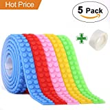 Block Tape for Lego Bricks with Self-Adhesive, Non-Toxic Reusable and Cuttable Compatible with Lego Block Toys and Major Brands Building Blocks, 5 Colors 3.3 ft of Each, Perfect DIY Gift for Kids