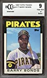 1986 topps traded #11t BARRY BONDS pittsburgh pirates rookie card BGS BCCG 9 Graded Card