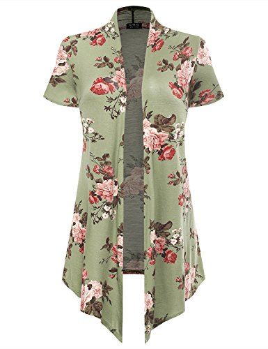 All for You Women's Soft Drape Floral Cardigan Short Sleeve Green 6532 X-Large ()