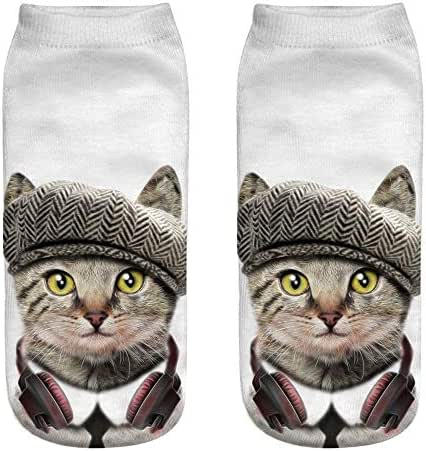 TOTOD Cute Low Cut Ankle Socks Women Girls Cute Funny 3D Fashion Cat Printed Casual Socks Novelty Gifts