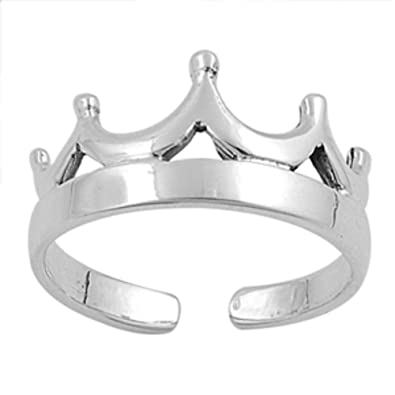 Adjustable Sterling Silver Tiara Toe Ring 925 Jewelry & Watches Toe Rings