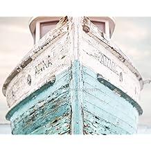 "Nautical Ship 11x14"" Fine Art Print, Nautical Decor - Aqua, Blue and White colors - vintage"