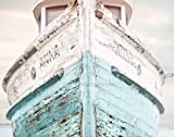 Nautical Ship 11x14 Fine Art Print, Nautical Decor - Aqua, Blue and White colors - vintage