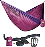 Hammock - Camping Double Hammock- Portable Parachute Nylon Hammock With Tree Straps & Alloy Carabiners For Backpacking Garden, Backyard,Hiking &Traveling (Fuchsia/Purple, DOUBLE)