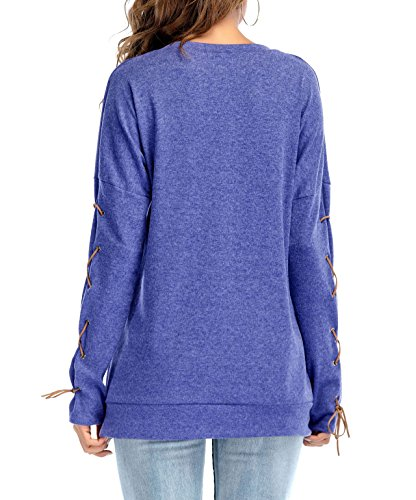 Tunique Poche Longue Lache Rond Fashion Manches Bandage Mi Bleu Shirts Shirts Chemises Longues Col T Femme Hauts Blouse t avec Tops Hvw74q6tx