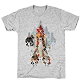 LookHUMAN Geometric Space Shuttle Launch XL Athletic Gray Men's Cotton Tee