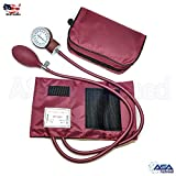 Manual Blood Pressure Monitor BP Cuff Gauge Aneroid Sphygmomanometer Machine Kit (Maroon)