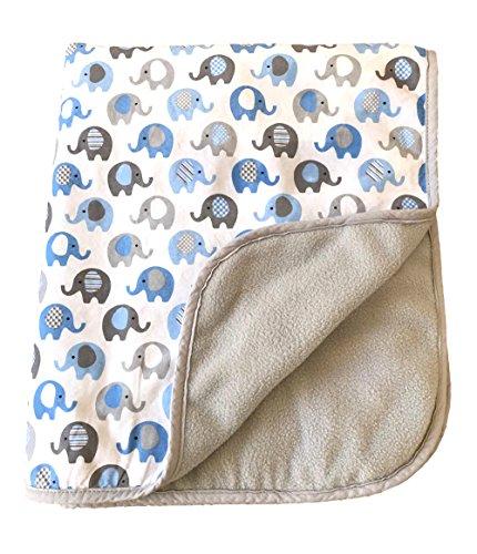 Vera Elephant Cotton Fleece Baby Blanket (Blue Grey) (Baby Fleece Blue Blanket)
