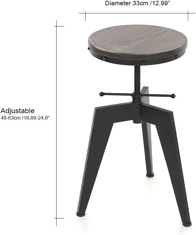 IKAYAA Industriale Altezza Regolabile Girevole Sgabello Bar Naturale Legno di Pino Top Cucina Sala Colazione Sedia