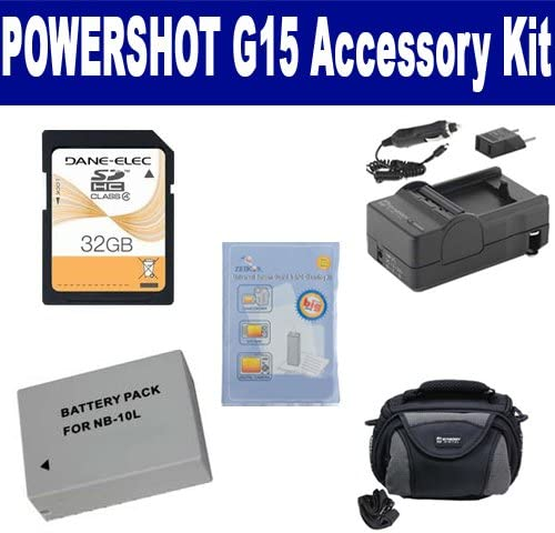 SDC-26 Case ZELCKSG Care /& Cleaning SDM-1547 Charger SD32GB Memory Card Canon PowerShot G15 Digital Camera Accessory Kit Includes: SDNB10L Battery