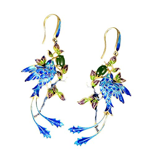 Jade Angel Gold Plated Stering Silver Drop Earrings with Cloisonne Enamel Phoenix Style Fashion Jewelry (Blue) ()