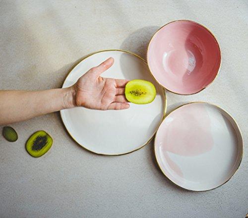 Handmade Ombre Pink Porcelain And Genuine Gold Rim Modern Dinnerware Set Of 3 - Soup bowl, Dinner Plate, Salad Or Dessert Serving Plate by SIND STUDIO