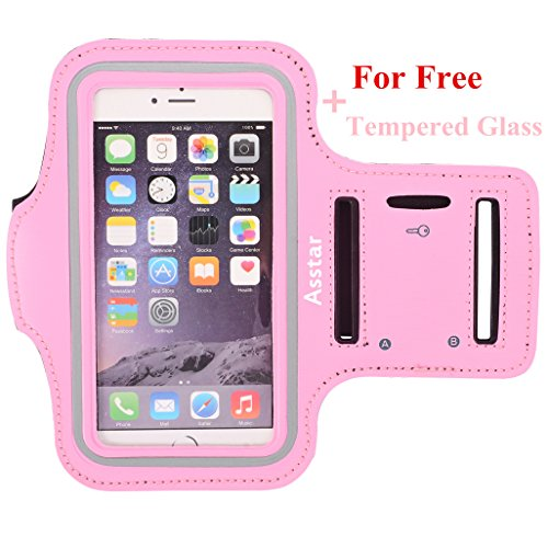 Armband, Asstar [Stand Feature] Premium Running Water Resistant Sports Armband and Fits iPhone 6, 6S,SE, 5, 5S, 5C, Samsung S4, S3, S2, HTC ect with FREE TemperedGlass (Pink)