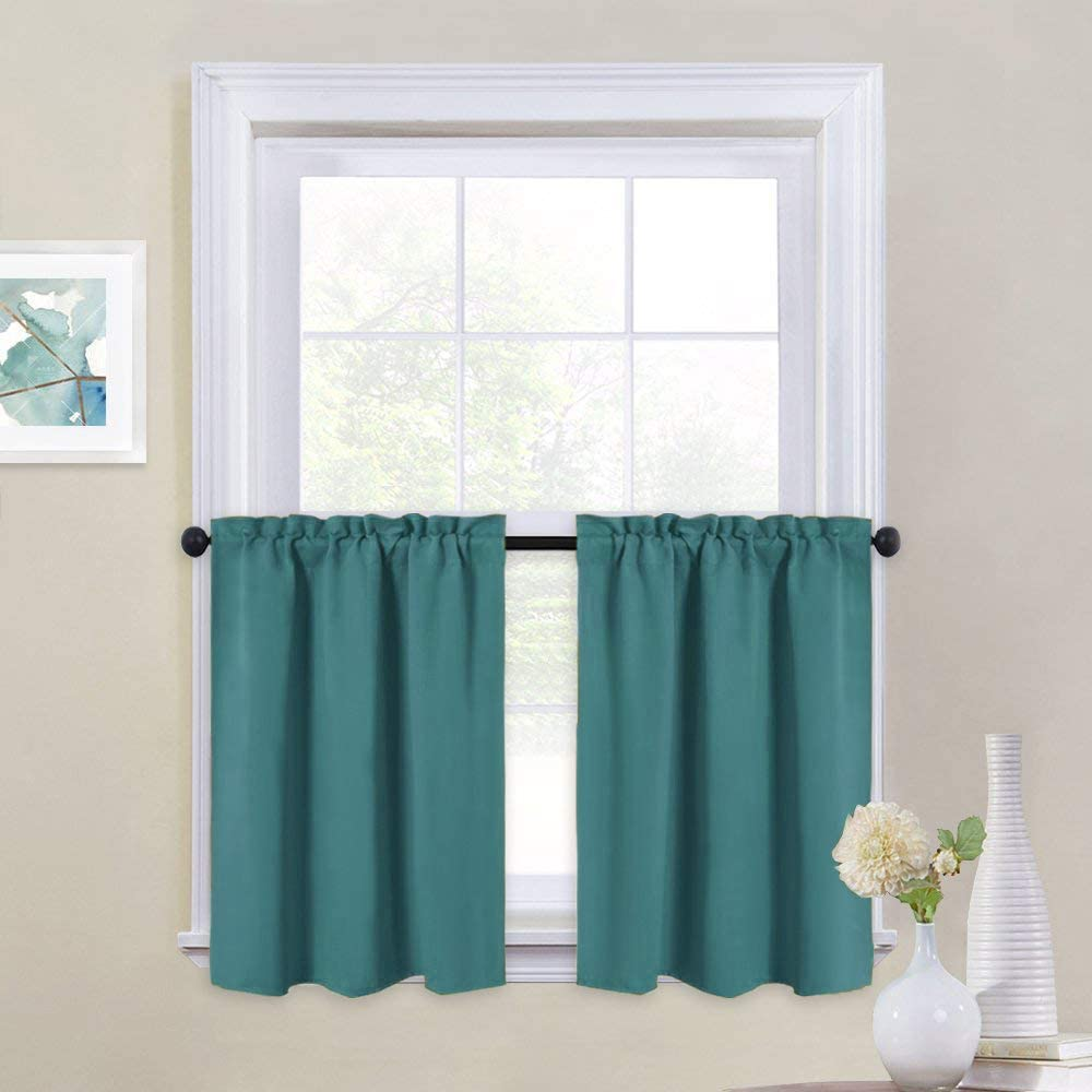 NICETOWN Kitchen Valances for Small Windows - Blackout Thermal Insulated Functional Rod Pocket Top Home Decoration Curtain Tiers for Basement/Loft/Dorm, Set of 2, 29 by 24 inches, Sea Teal