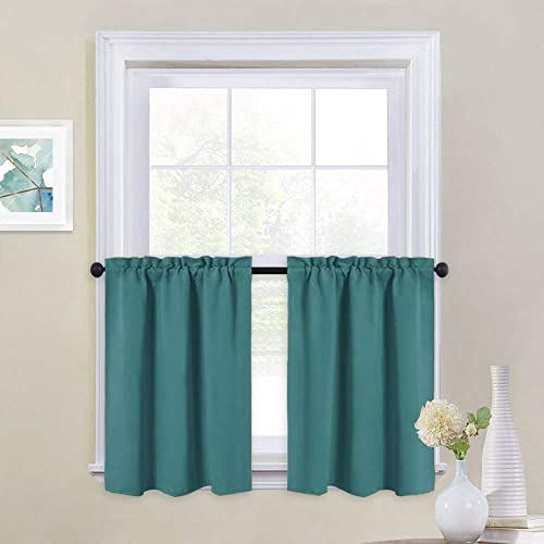 NICETOWN Kitchen Valances for Small Windows – Blackout Thermal Insulated Functional Rod Pocket Top Home Decoration Curtain Tiers for Basement Loft Dorm, Set of 2, 29 by 24 inches, Sea Teal