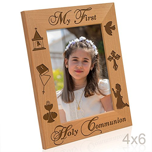 Kate Posh - My First Holy Communion - Girl Design Picture Frame (4x6-Vertical) (Communion Frame Girl)