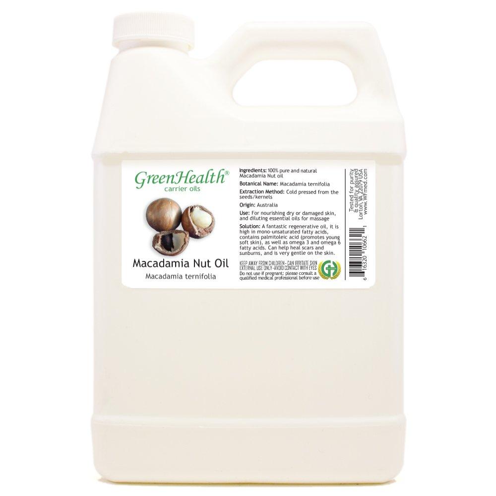 GreenHealth Macadamia Nut Oil - 32 fl oz (946 ml) Plastic Jug w/Cap - 100% Pure Carrier Oil