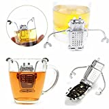 HeroNeo® Robot Hanging Tea Leaf Diffuser Infuser Stainless Steel Strainer Herbal Spice Filter With Drip Tray