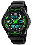 Waterproof Watch,Multi Function Watch 50 Meters Waterproof Led Kids Watch Outdoor Sports Watches with Dual Time Wrist Watches for Boy Girl Gifts Green