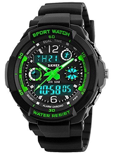 Waterproof Watch,Multi Function Watch 50 Meters Waterproof Led Kids Watch Outdoor Sports Watches with Dual Time Wrist Watches for Boy Girl Gifts Green by PASNEW